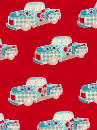 Riley Blake #C3522-RED - Red with Blue Cars