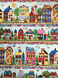"Timeless Treasures ""Row by Row Fabric"" Row #4491-multi - Stores and Homes in Rows"