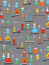 "Robert Kaufman ""Science Fair"" # SRK-17929-205 col. MULTI – Chemistry Equipment on Gray"