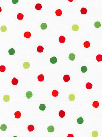 "Robert Kaufman ""Celebrate Seuss 2"" # 12778-203 - Red and Green Dots on White"