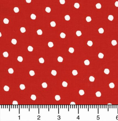 "Robert Kaufman ""Celebrate Seuss 2"" # 12778-99-CHERRY - White Dots on Red_MAIN"