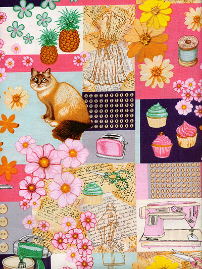 "RJR Fabrics ""Home Sweet Home"" #2354-1 - Cats, Sewing Machines, Cupcakes and More_MAIN"