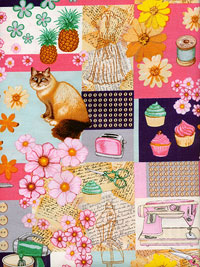 "RJR Fabrics ""Home Sweet Home"" #2354-1 - Cats, Sewing Machines, Cupcakes and More_THUMBNAIL"