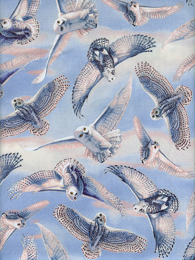 "Quilting Treasures ""Silent Flight"" #1649-23596-B - Snow Owls_MAIN"