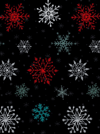 "Studio E ""Polar Bear Pirouette"" # 3825-99 - Snowflakes on Black"
