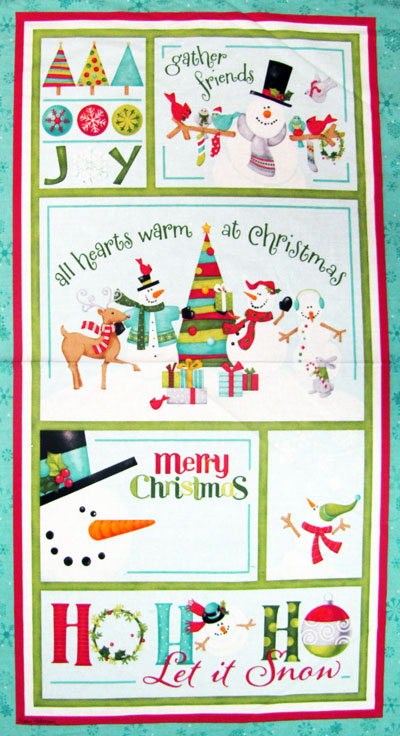 "Benartex ""Ho Ho Ho Let It Snow"" #3290 col. 24 - Snowman Panel - PRICED PER PANEL"