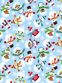 "Makower UK ""Frosty"" Style: TP  Pattern: 1584  Color: B2 – Snowmen on Light Blue"