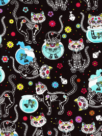 Timeless Treasures # C4159-Black - Sugar Skull Cats on Black_THUMBNAIL
