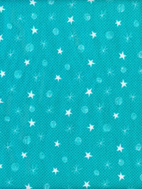 Makower UK - The Henley Studio - Style: TP  Pattern: 1495  Color: T - Teal with White Stars