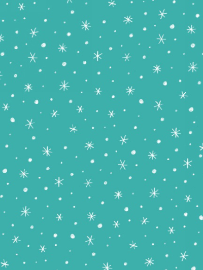 "Studio E ""Polar Bear Pirouette"" # 3822-11 - White Stars on Turquoise"