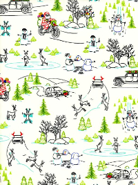 "Ink & Arrow Fabrics ""Naughty or Nice?"" # 1649-24606-E – Wacky Winter Wonderland"