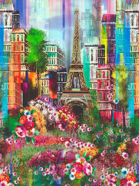 "Hoffman Digital ""Wanderlust"" # Q4440-145-SPRING - Springtime in Paris Panel - PRICED PER PANEL"