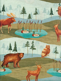 "Windham Fabrics ""Wild Woods"" #41121 - Owls, Bears, Deer, Foxes and Ducks_THUMBNAIL"