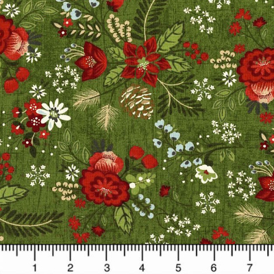 "Moda ""Winter Village"" # 30550-16 - Winter Floral on Green_MAIN"