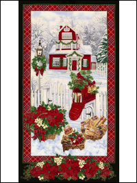 "Timeless Treasures ""Holiday"" # CM4987 – Snowy Christmas House Scene Panel"