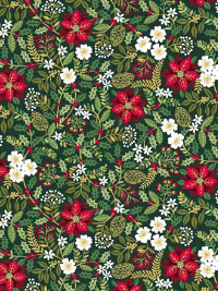 "Makower ""Silent Night"" # 1975-G - Poinsettia Foliage on Green"