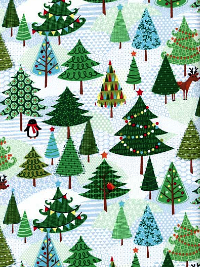 "Makower UK ""Frosty"" Style: TP  Pattern: 1582  Color: 1 – Christmas Tree Forest"