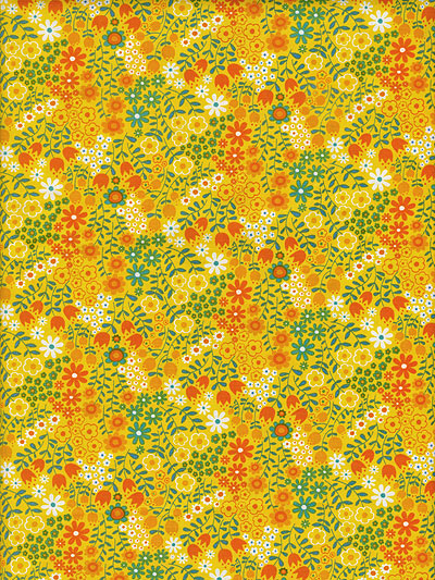 "Moda ""On The Wing"" #35264 col. 14 - Yellow with Orange, Teal and White Flowers"