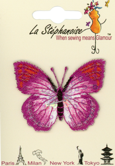 Butterfly Appliqué by La Stéphanoise - # 15338 col. 002 - Fuchsia and Orange