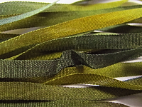 Gibb & Hiney Hand-dyed Silk Ribbon, 3.5mm — Bronzed Olive