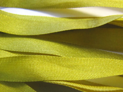 Gibb & Hiney Hand-dyed Silk Ribbon, 7mm — Green Algae