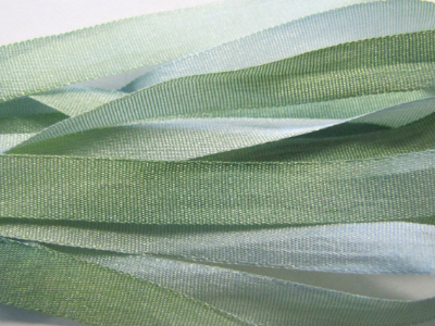 Gibb & Hiney Hand-dyed Silk Ribbon, 7mm — Green Mist
