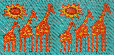Trim WW - orange giraffes, turquoise background