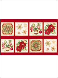 "Robert Kaufman ""Holiday Flourish"" # 16562-223 – Christmas Designs Panel"