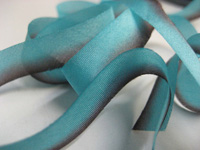 "Hanah Hand-dyed Silk Ribbon, 7/16"" — Aqua Chocolate"