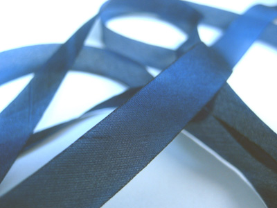 "Hanah Hand-dyed Silk Ribbon, 7/16"" — Blue Jeans"