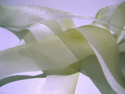 "Hanah Hand-dyed Silk Ribbon, 5/8"" — Bridal Ivory"