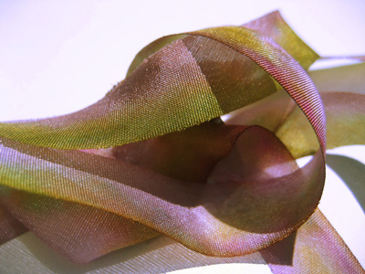"Hanah Hand-dyed Silk Ribbon, 5/8"" — Flamingo Glace"