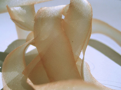"Hanah Hand-dyed Silk Ribbon, 7/16"" — Peaches and Cream"