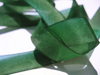 "Hanah Hand-dyed Silk Ribbon, 5/8"" — Pine Needle"