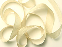 "Woven Edge Rayon Ribbon, 1/2"" - croquette beige"