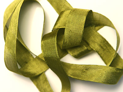 "Woven Edge Rayon Ribbon, 1/2"" - dusty olive"