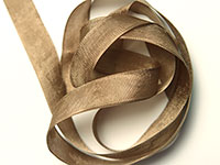 "Woven Edge Rayon Ribbon, 1/2"" - log brown"