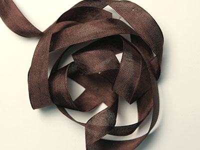 "Woven Edge Rayon Ribbon, 1/2"" - mimi brown"