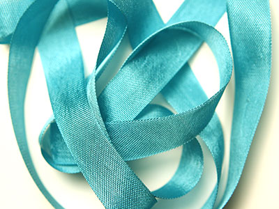 "Woven Edge Rayon Ribbon, 1/2"" - peacock alley"