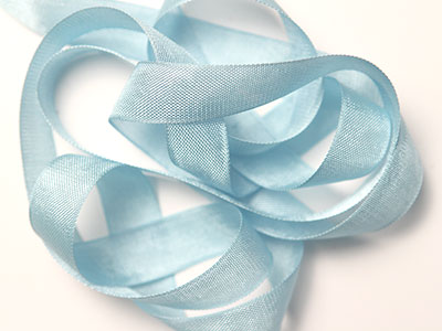 "Woven Edge Rayon Ribbon, 1/2"" - tile blue"