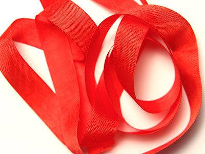 "Woven Edge Rayon Ribbon, 1/2"" - turkey red"
