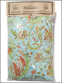 Deluxe Ironing Board Cover – Light Blue, Teal and Orange (reversible)