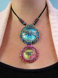 """Crystally Cabochon"" Beaded Dragonfly Necklace"