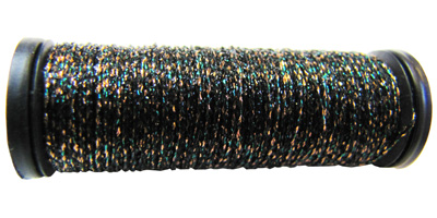 Kreinik #8 Braid - 5008 Black/Copper/Turquoise