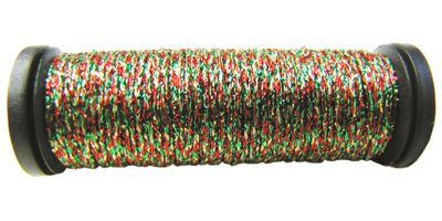 Kreinik #8 Braid - 238 Red/Gold/Green