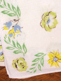 Vintage Napkins – White with Blue, Yellow and Green Floral Print with Green Leaves_THUMBNAIL