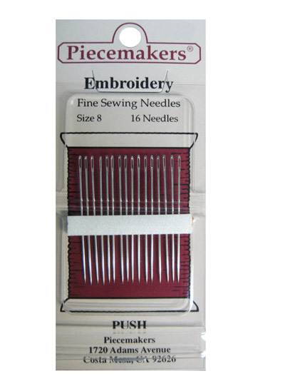 Piecemakers Embroidery Needles Size 8