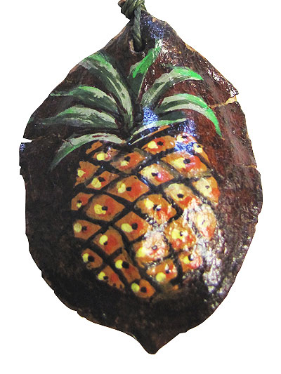 Hand Painted Jacaranda Pod Pendant Necklace — Pineapple