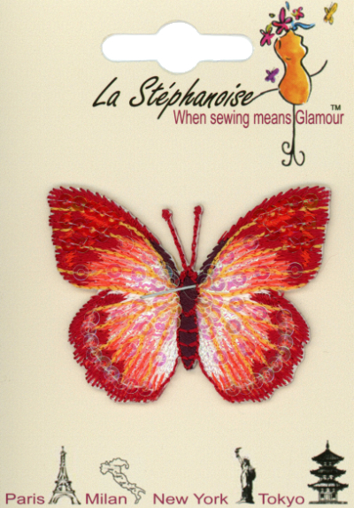 Butterfly Appliqué by La Stéphanoise - # 15338 col. 001 - Red and Orange