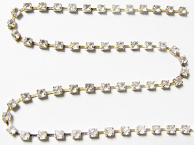 2mm Rhinestone Chain – Clear Crystal Set In Silver